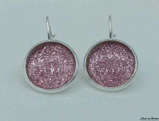 glitter earrings princess pink