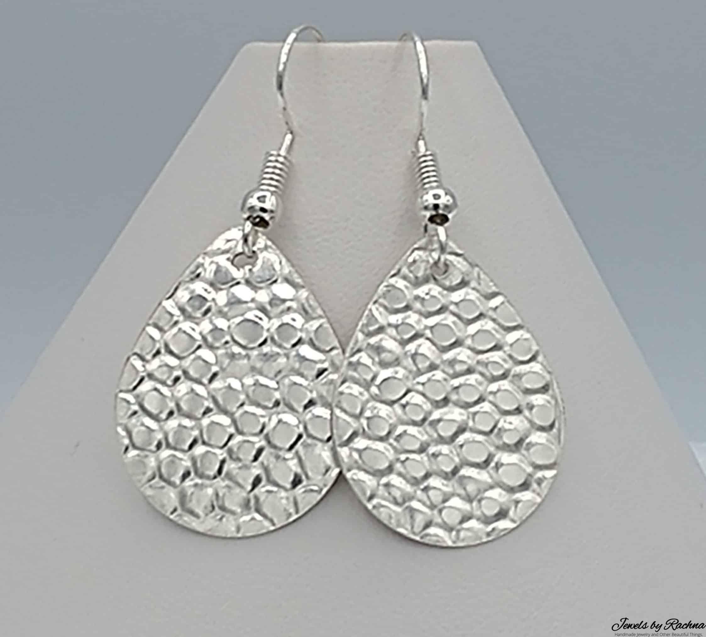 Pebble Texture Silver Earrings Teardrop
